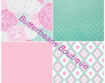 DEPOSIT Pink and Mint Baby Girl Crib Bedding Butterbeans Exclusive