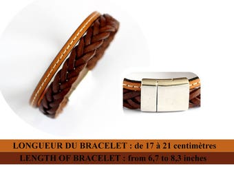 Mens leather bracelet / braided dark brown leather and stitched light brown / white magnetic clasp / father's day