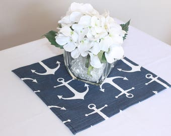 Navy anchor placemat, table square, Choose size, Nautical wedding decor, Baby shower, Birthday party, Table square, Table overlay