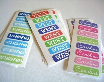 TINY iron-on name labels - set of 28 - assorted colors