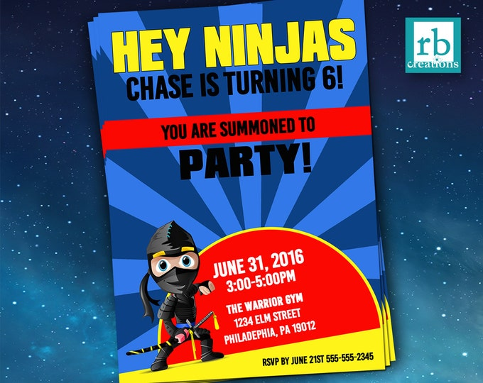 Ninja Birthday Invitations, Ninja printables, Ninja Warrior Party, Ninja Party Invitations, Martial Arts Invitation, Digital Printables
