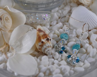 Aquamarine Colored Stone Wire-Wrapped Drop Earrings with 4mm Swarovski Crystal Accent Beads