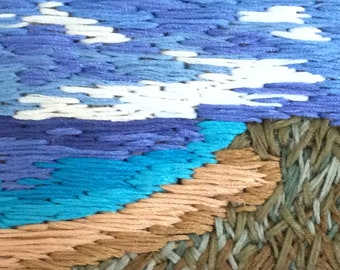 Hand embroidered rectangular beach scene picture