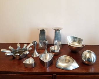 Funky Aluminum Candlestick Lot - Set of 9