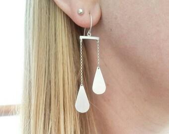 Sterling Silver Minimalist Balance Earrings. Balance drop statement earrings. Statement earrings. Drop earrings.