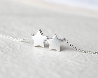 Cute Two star Necklace - S2353-1