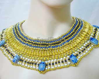 Great Egyptian Beaded Cleopatra 7 Scarabs Necklace Collar
