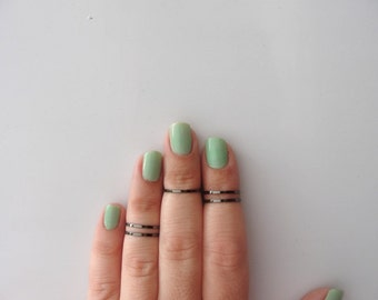 Black Ring , 5 Above the Knuckle Rings - Plain Band Knuckle Rings, Black thin rings - set of 5 midi rings, unique gift for her