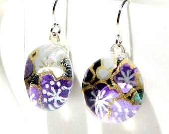 plum happy geisha gem danglies - glass and Japanese chiyogami earrings with eco friendly Argentium sterling silver