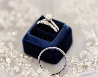 Navy Blue Velvet Ring Box For Weddings and Proposals , Heirlooms
