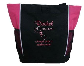 Tote Bag Personalized Nurse Student RN BSN CNA Lvn lpn Nicu Nurse Practitioner Cardiac Respiratory Care er rt Nursing Angel Steth