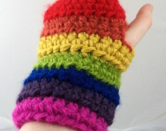 Rainbow Striped Crocheted Wrist Warmers (size M-L) (SWG-WW-MJ05)