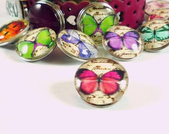 1 snap Chunk Butterfly fuchsia cabochon glass 18mm (CH27)