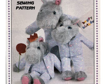 Instant Download PDF Full Size Printable Sewing Pattern to make a Hippopotamus Family in Pyjamas Dungarees Soft Dressed Cuddly Fabric Toy