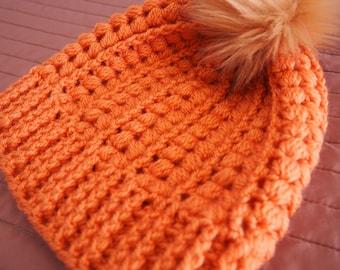 Ladies Beanie, Teens Beanie, Beanie, Faux Fur Pom Pom, Beanie with Pom Pom, Crochet Beanie, Handmade Beanie, Puff Stitch Beanie, Winter Hat