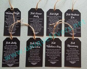 12-Tags - Hochzeitsgeschenk, Brautdusche, Gedicht Wein Tags personalisiert - 12-Tags digitale Datei, die nur Sie drucken