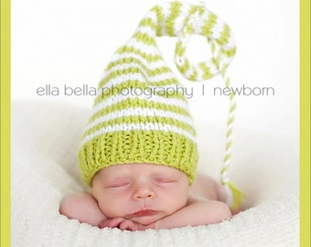 Unisex NeWBORN Stocking Hat KNiT BaBY PHoTO PRoP Lime White Stripe PaSTeL Pixie BeANiE Boy Girl Cap CoMiNG HoME Munchkin Toque CHooSE CoLOR
