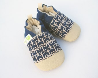 Classic Vegan Anchors in Tan and Blue / Non-slip Soft Sole Baby Shoes / Made to Order / Babies Toddler Preschool