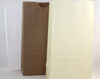 """Flat Bottom Paper Bags, 3 Color Choices, 4 1/4""""x 2 3/8"""" x 8"""""""