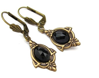 Art Deco Earrings Black Cabochon Antiqued Gold Tone Earrings Wedding Jewelry Hawaii Beads