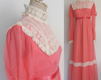 1970's Vibrant Coral Pink Silk Edwardian Style Chiffon Maxi w/ Princess Sleeves Size Small Medium by Maeberry Vintage