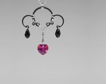 Pink Swarovski Crystal Pendant, Fuchsia Swarovski Crystal Necklace, Black Swarovski Crystals, Wire Wrapped Pendant, Supernova v5