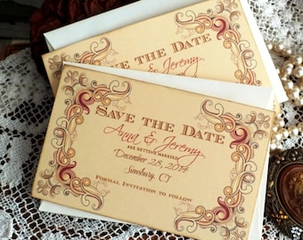 Vintage Colored Floral Frame Wedding Save the Date Cards Handmade by avintageobsession on etsy