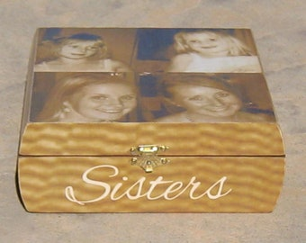 Personalized Photo Collage Keepsake Box, Sister Gift, Maid of Honor Gift, Custom Memory Box, Unique Birthday, Best Friend, Bridesmaid Gift