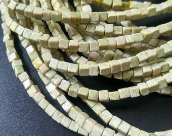 Natural Beige Green Stone Cube Beads 4x4x4mm- approx 90pcs/Strand