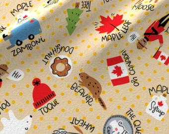 Canada Fabric - Canadian Things By Cynthiafrenette - Canada Moose Bear Beaver Toque Maple Leaf Cotton Fabric By The Yard With Spoonflower