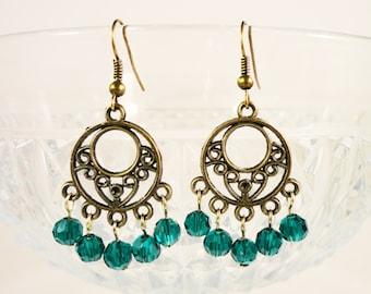 Bronze Chandelier Earrings, Teal Green Crystal Earrings, Beadwork Earrings, Antique Brass Earrings, Metal Beaded Earrings, Costume Jewelry