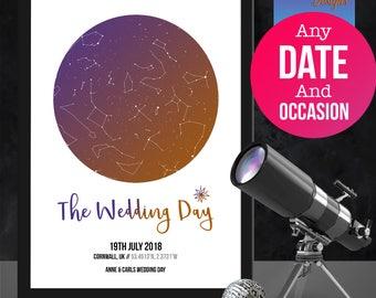 Personalised Wedding/Anniversary star map/constellation night sky map - Fantastic Birthday/ XMAS /wedding/valentine's gift -  Shabby Chic