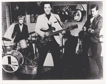 SPINOUT Elvis Presley Band Photo, Vintage  B&W Movie Promo 8x10,  Deborah Walley Jack Mullaney