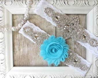 Wedding garter, custom garter set - something blue, crystal garters, lace bridal garter, prom, wedding, wedding dress, bridesmaid gift