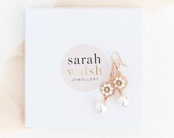 Rose Gold Bridal Earrings, Bridal Pearl Earrings, Rose Gold Wedding Earrings