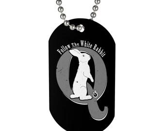 Q Anon Dog Tag Beaded Necklace Follow The White Rabbit Trump Deplorables Politics Qanon Gift
