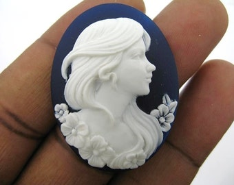 6 40 x 30mm White on Navy Blue Lady Portrait Cameos- CMT226