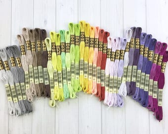 DMC Floss, 35 NEW Colors, Embroidery, Needlework, Cross Stitch, Hoop Art, individual skeins or complete set