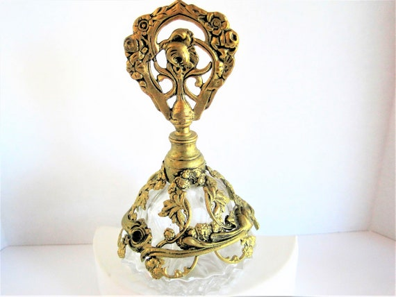 Gold Perfume Bottle,  Ornate Gold Ormolu, Roses Embellished, 60's  Heavy Glass cologne