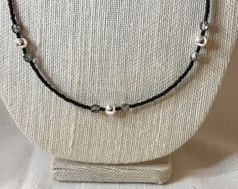 Black, Silver, and Iridescent Long Necklace