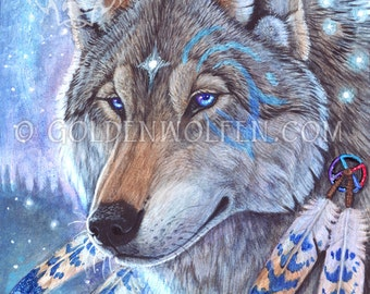 Mystical Shamanic Wolf Totem Print