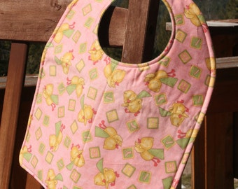 TODDLER or NEWBORN Bib: Ducklings and Blocks, Personalization Available