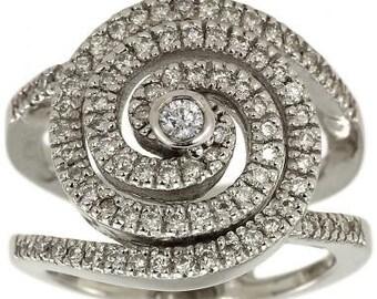Swirl Engagement Ring Swirl Ring Diamond Swirl Ring Statement Ring 0.90ct Gold