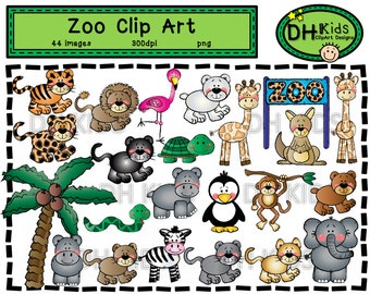 Zoo Clip Art, Digital Clipart, Zoo Animals, Instant Download, Zoo scrapbook, classroom clipart, Zoo instant download, Zoo themed party, zoo