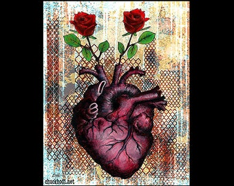 "Print 11x14"" - Roses Are - Heart Anatomy Anatomical Flowers Red Love Lowbrow Art Surreal Still Life Fantasy Pop Art Dark Cute Rust Love"
