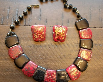 Western Germany Vintage red and black thermoset necklace with matching clip on earings