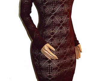 Burgundy Overlay Crochet Long Sleeve Midi Dress