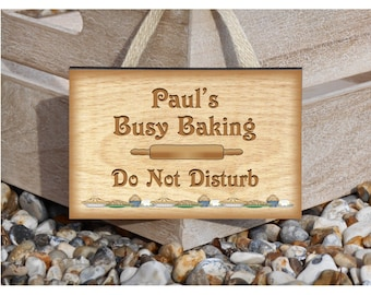 PERSONALISED KITCHEN SIGN: Busy Baking Custom-Made Wood or Metal Plaque