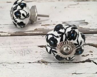 Black n White Floral Knobs, Decorative Pull Knob, Craft Supply, Furniture Upgrade Ceramic Drawer Pulls, Home Improvement Cabinet Supplies