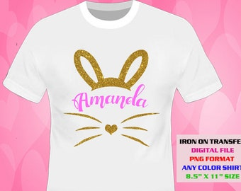 Easter Iron On Transfer , Easter , Easter Bunny Shirt DIY Designs , Printable , Personalize Transfers , Digital Files